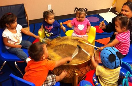 Children Enjoying a drum circle at Tsawout First Nation